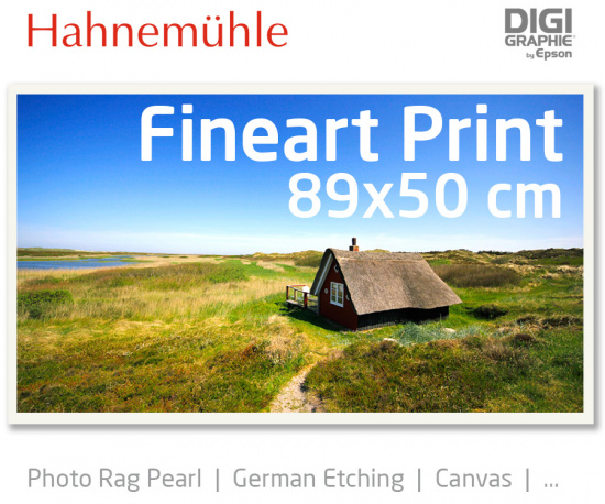 89x50 cm Fineart Druck mit 1440x2880 DPI auf Hahnemühle Fineart-Papieren wie Photo Rag, German Etching, Canvas, Premium Photo Glossy