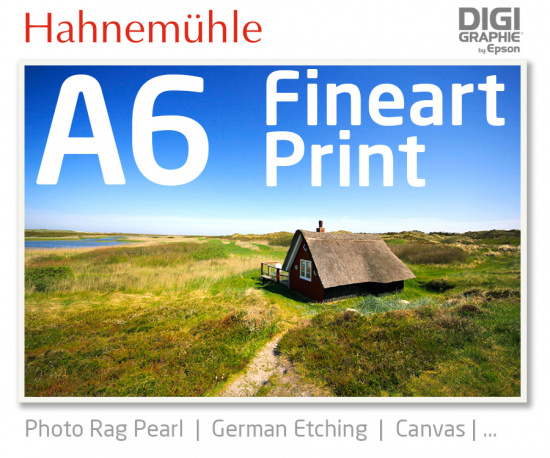 DIN A6 Fineart Druck mit 1440x2880 DPI auf Hahnemühle Fineart-Papieren wie Photo Rag, German Etching, Canvas, Premium Photo Glossy