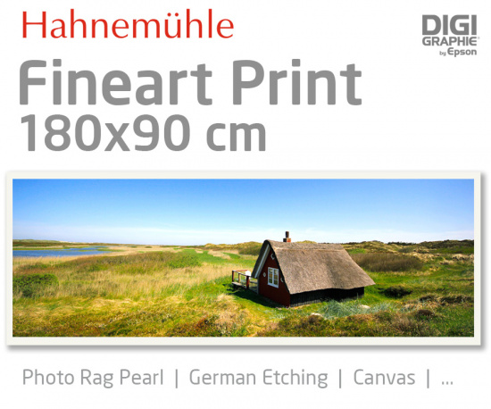 180x90 cm Fineart Druck mit 1440x2880 DPI auf Hahnemühle Fineart-Papieren wie Photo Rag, German Etching, Canvas, Premium Photo Glossy