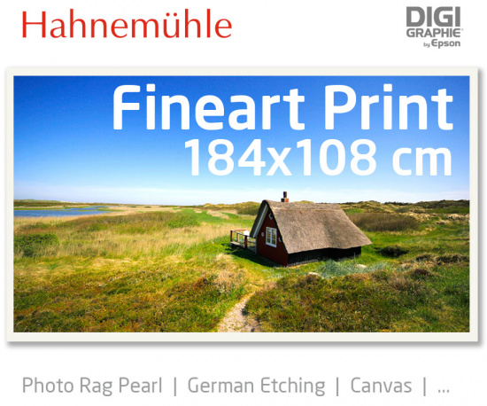184x108 cm Fineart Druck mit 1440x2880 DPI auf Hahnemühle Fineart-Papieren wie Photo Rag, German Etching, Canvas, Premium Photo Glossy