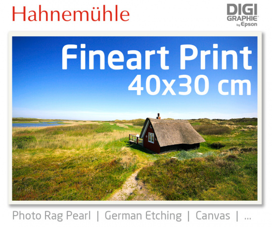 40x30 cm Fineart Druck mit 1440x2880 DPI auf Hahnemühle Fineart-Papieren wie Photo Rag, German Etching, Canvas, Premium Photo Glossy