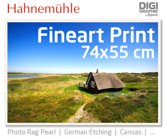 74x55 cm Fineart Druck mit 1440x2880 DPI auf Hahnemühle Fineart-Papieren wie Photo Rag, German Etching, Canvas, Premium Photo Glossy