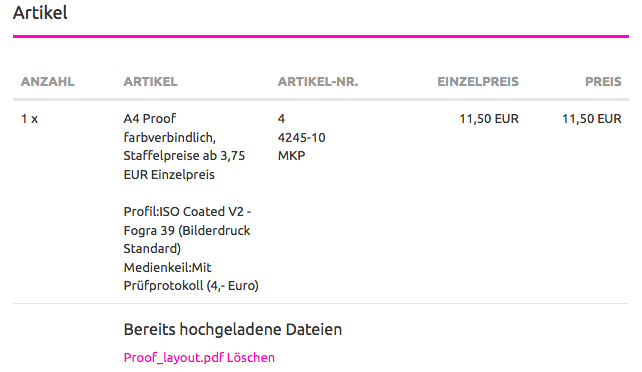 Proof Upload nach dem Bestellabschluss
